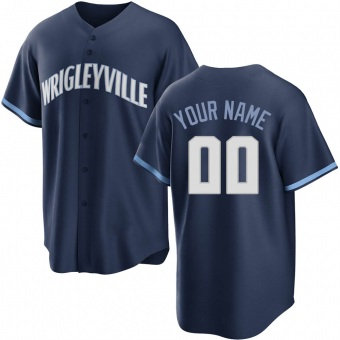 Youth Custom Chicago Navy Replica 2021 City Connect Baseball Jersey (Unsigned No Brands/Logos)