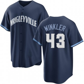 Youth Dan Winkler Chicago Navy Replica 2021 City Connect Baseball Jersey (Unsigned No Brands/Logos)