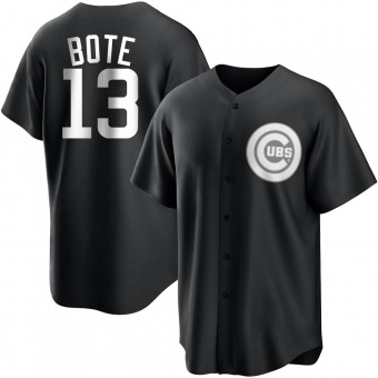 Youth David Bote Chicago Black/White Replica Baseball Jersey (Unsigned No Brands/Logos)