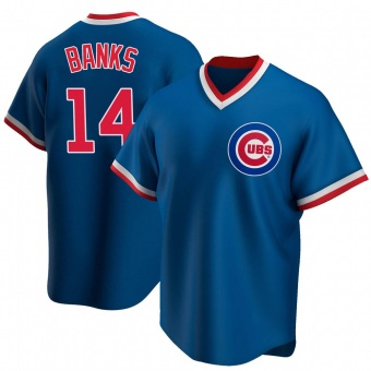 Youth Ernie Banks Chicago Royal Replica Road Cooperstown Collection Baseball Jersey (Unsigned No Brands/Logos)