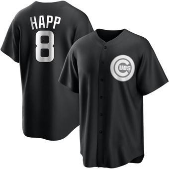 Youth Ian Happ Chicago Black/White Replica Baseball Jersey (Unsigned No Brands/Logos)