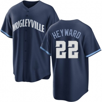 Youth Jason Heyward Chicago Navy Replica 2021 City Connect Baseball Jersey (Unsigned No Brands/Logos)