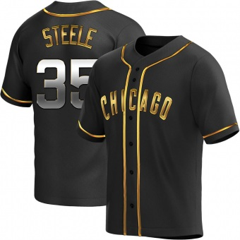 Youth Justin Steele Chicago Black Golden Replica Alternate Baseball Jersey (Unsigned No Brands/Logos)