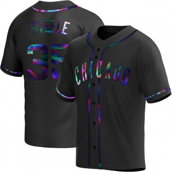 Youth Justin Steele Chicago Black Holographic Replica Alternate Baseball Jersey (Unsigned No Brands/Logos)