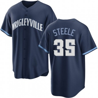 Youth Justin Steele Chicago Navy Replica 2021 City Connect Baseball Jersey (Unsigned No Brands/Logos)