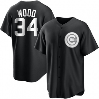 Youth Kerry Wood Chicago Black/White Replica Baseball Jersey (Unsigned No Brands/Logos)
