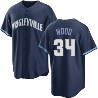 Youth Kerry Wood Chicago Navy Replica 2021 City Connect Baseball Jersey (Unsigned No Brands/Logos)