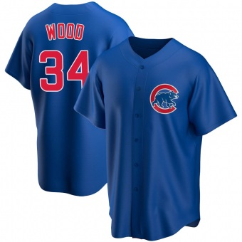 Youth Kerry Wood Chicago Royal Replica Alternate Baseball Jersey (Unsigned No Brands/Logos)