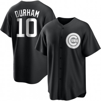 Youth Leon Durham Chicago Black/White Replica Baseball Jersey (Unsigned No Brands/Logos)