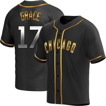 Youth Mark Grace Chicago Black Golden Replica Alternate Baseball Jersey (Unsigned No Brands/Logos)
