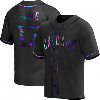 Youth Mark Grace Chicago Black Holographic Replica Alternate Baseball Jersey (Unsigned No Brands/Logos)