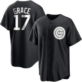 Youth Mark Grace Chicago Black/White Replica Baseball Jersey (Unsigned No Brands/Logos)