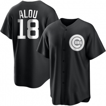 Youth Moises Alou Chicago Black/White Replica Baseball Jersey (Unsigned No Brands/Logos)