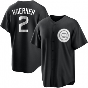 Youth Nico Hoerner Chicago Black/White Replica Baseball Jersey (Unsigned No Brands/Logos)