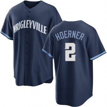 Youth Nico Hoerner Chicago Navy Replica 2021 City Connect Baseball Jersey (Unsigned No Brands/Logos)
