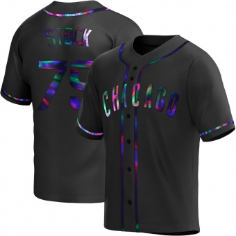 Youth Robert Stock Chicago Black Holographic Replica Alternate Baseball Jersey (Unsigned No Brands/Logos)