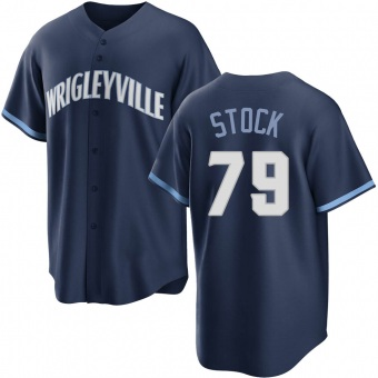 Youth Robert Stock Chicago Navy Replica 2021 City Connect Baseball Jersey (Unsigned No Brands/Logos)