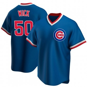 Youth Rowan Wick Chicago Royal Replica Road Cooperstown Collection Baseball Jersey (Unsigned No Brands/Logos)