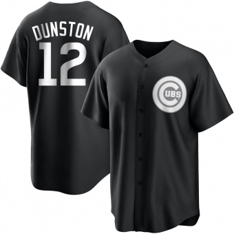 Youth Shawon Dunston Chicago Black/White Replica Baseball Jersey (Unsigned No Brands/Logos)