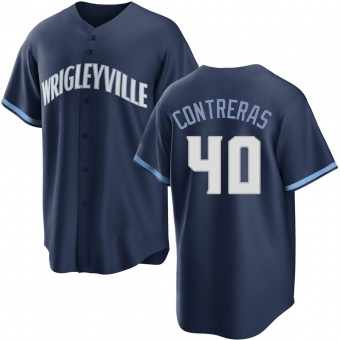 Youth Willson Contreras Chicago Navy Replica 2021 City Connect Baseball Jersey (Unsigned No Brands/Logos)