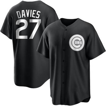 Youth Zach Davies Chicago Black/White Replica Baseball Jersey (Unsigned No Brands/Logos)